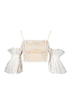 White Petite Organza Mesh Statement Sleeve Top