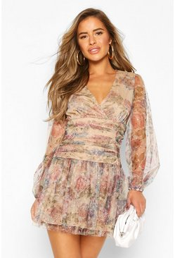 Stone beige Petite Floral Dobby Mesh Long Sleeve dress
