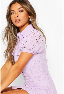 Lilac purple Petite Broderie Utility Pocket Shirt Dress