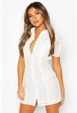 White Petite Broderie Utility Pocket Shirt Dress