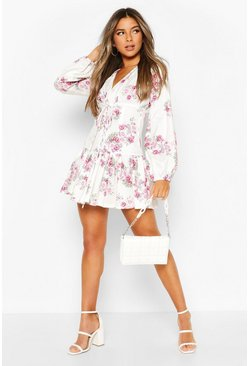 White Petite Floral Corset Detail Frill Hem Dress