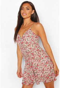 Red Petite Floral Strappy Frill Hem Ruched Dress