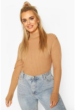 Camel beige Plus Fine Soft Knit Long Sleeve Jumper