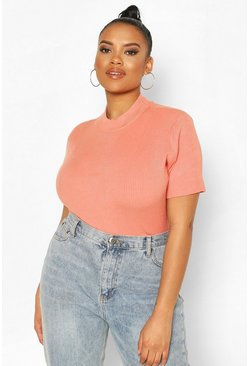 Peach orange Plus Soft Knit Jumper Top