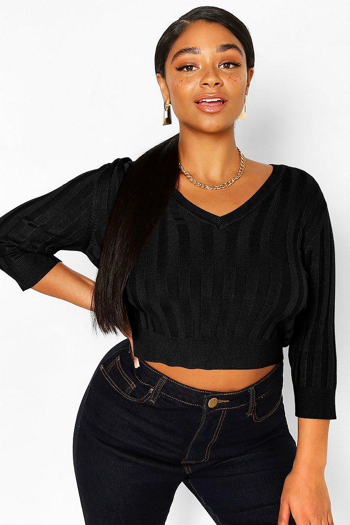 Plus Mjukt stickad tröja med V ringning | boohoo SE