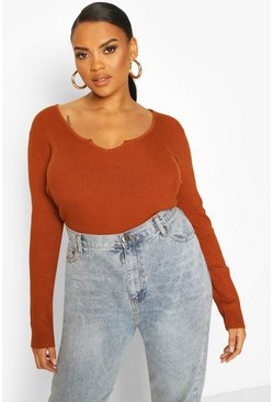 Chocolate brown Plus Notch Neck Long Sleeve Knit Top