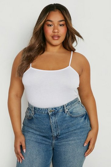 White Plus Basic Strappy Scoop Cami