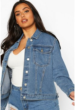 Mid wash blue Plus Western Denim Jacket
