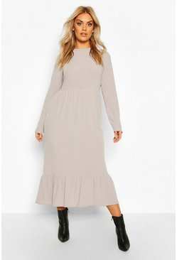 Grey Plus Soft Rib Ruffle Tiered Midi Dress
