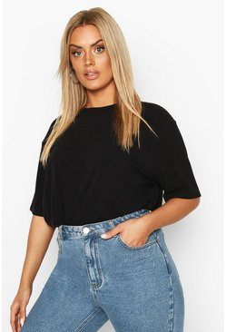 Black Plus Soft Rib Oversized T-Shirt