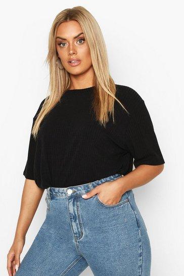 Black Plus Soft Rib Oversized T-Shirt