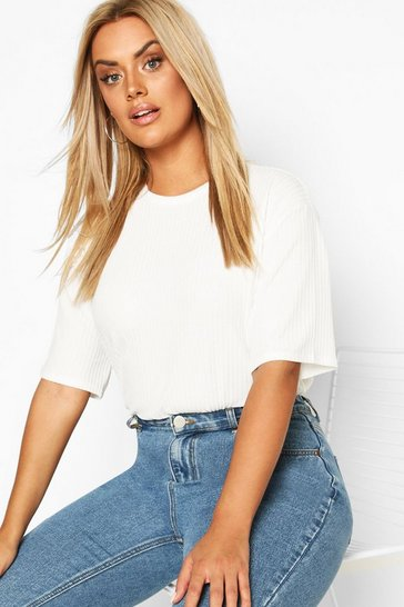 Ivory white White Plus Soft Rib Oversized T-Shirt