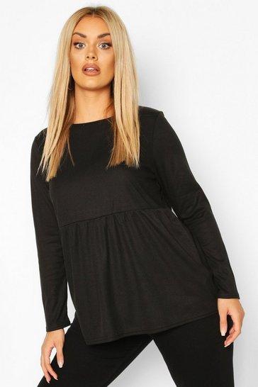 Black Plus Super Soft Rib Long Sleeve Smock Top
