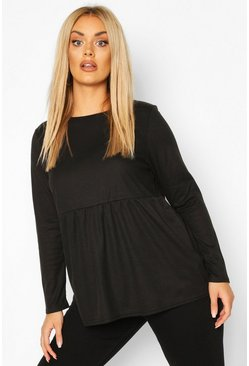 Black Plus Super Soft Rib Long Sleeve Smock Top