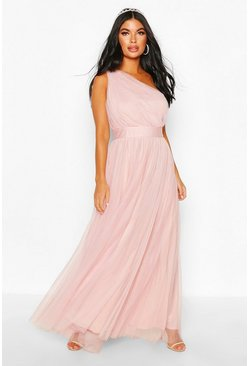 Blush pink Petite Premium Chiffon One Shoulder Maxi Dress
