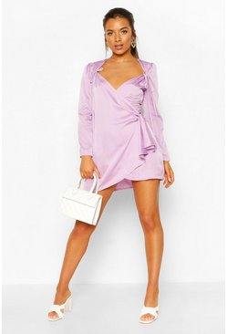 Lilac purple Petite Polka Dot Tie Detail Wrap Dress