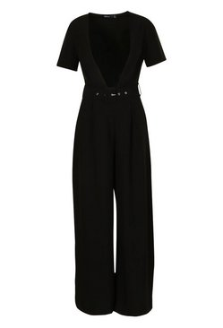 Black Petite Tailored Self Belt Wide Leg Jumpsuit