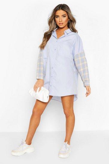 Blue Petite Contrast Check Shirt Dress