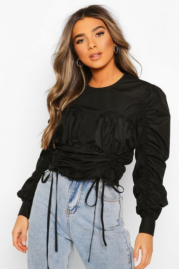 Black Petite Ruched Corset Detail Poplin Top