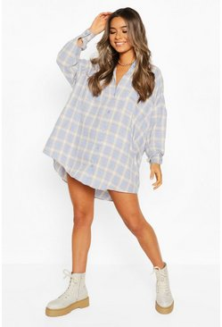 Blue Petite Oversize Check Dress