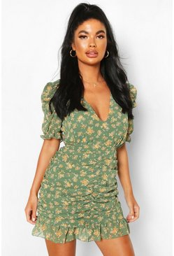 Green Petite Floral Ruched Mini Dress
