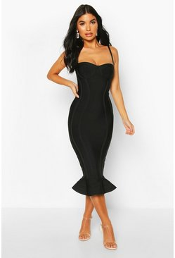 Black Petite Bandage Frill Hem Midi Dress