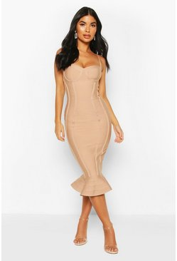 Blush Petite Bandage Frill Hem Midi Dress