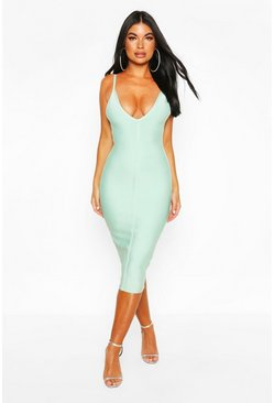Sage green Petite Bandage V-Neck Bodycon Dress