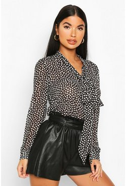 Black Petite Printed Pussy Bow Blouse