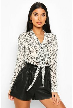 White Petite Printed Pussy Bow Blouse
