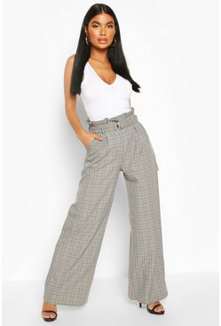 Grey Petite Wide Leg Belted Check Trousers