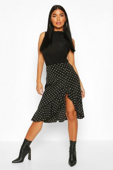 Black Petite Ruffle Polka Dot Midi Skirt