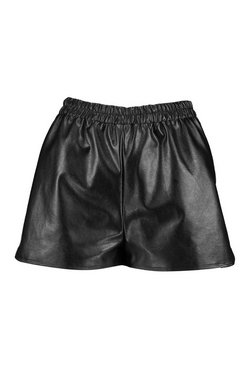 Black Petite PU Running Shorts