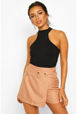 Rust orange Petite Belted Wrap Front Twill Short
