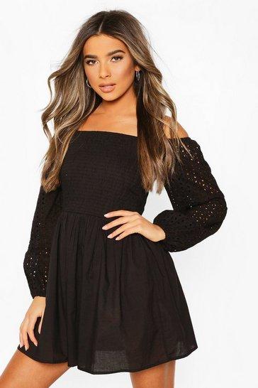 Black Petite Crinkle Skater Dress
