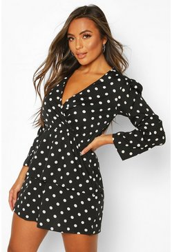 Black Petite Polka Dot Frill Hem Skater Dress