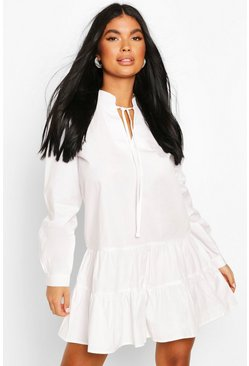 White Petite Long Sleeve Smock Dress
