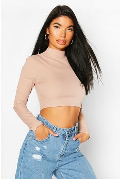 Sand beige Petite High Neck Ribbed Crop Top