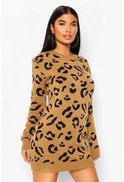 Camel beige Petite Leopard Jumper Dress
