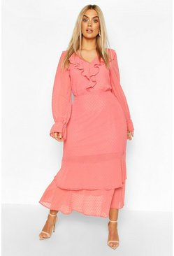 Coral pink Plus Dobby Mesh Ruffle Midi Dress