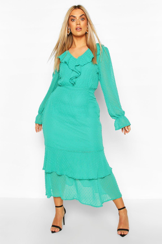 Plus Dobby Mesh Ruffle Midi Dress 2