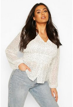 Ivory white Plus Polka Check Sheer Peplum Blouse