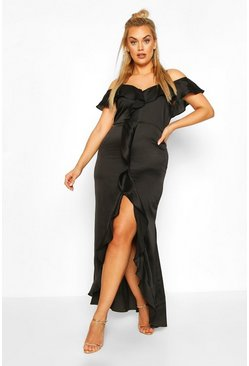 Black Plus Cold Shoulder Ruffle Satin Midaxi Dress