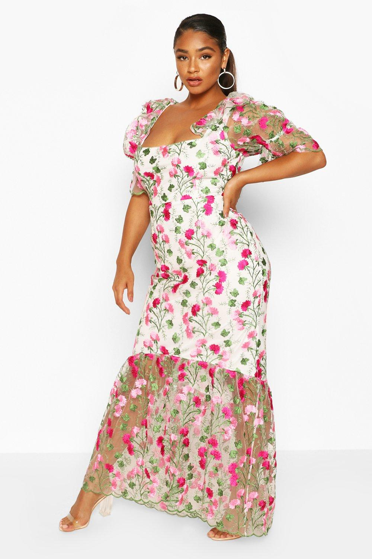 Plus Floral Lace Puff Sleeve Midi Dress 6