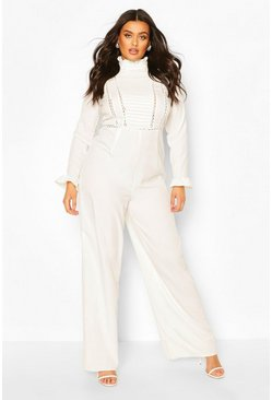 Ivory white Plus Pleated Crochet Insert Tailored Jumpsuit