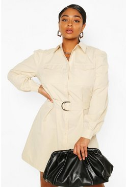 Stone beige Plus Puff Sleeve Belted Shirt Dress