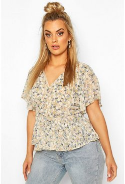 Beige Plus Floral Angel Sleeve Wrap Peplum Top