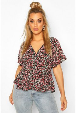 Black Plus Floral Angel Sleeve Wrap Peplum Top