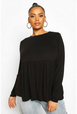 Black Plus Jersey Long Sleeve Frill Hem Smock Top