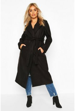 Black Plus Oversized Self Belted Long Coat